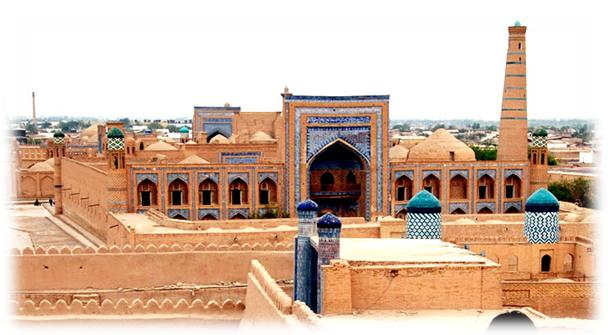A view of the Ichan-Kala, the old walled city of Khiva and its Madrasah of Muhammad Rakhim-khan II. Construction of the surrounding walls began in the 6th century BC. Today the 2.25km of walls stand 10m high!
