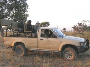 A Kafue Camps and Safari game drive vehicle in action