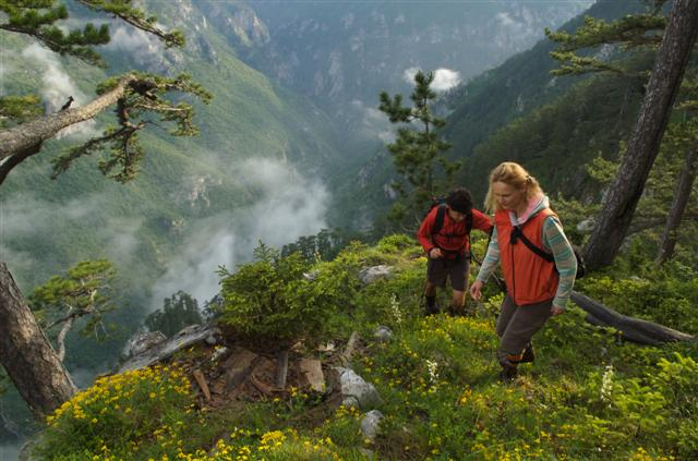 Hikers in Tara River Canyon, Montenegro