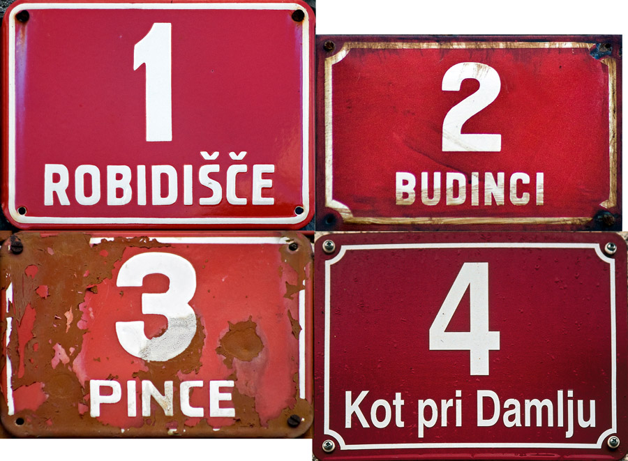 Pince in the east, Budinci in the north, Kot pri Damlju in the south and Robidišče in the west are the four villages that pin Slovenia to the map at its four extremitie