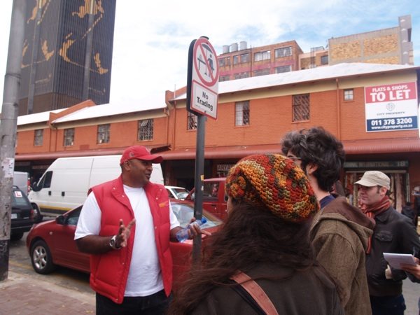 Travellers on a tour of downtown Johannesburg