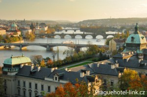 A stunning sunset view of Prague and the Vltava River