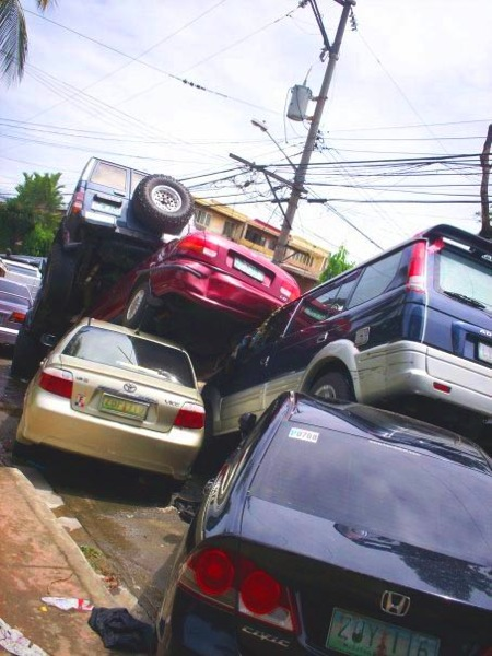 Cars in Manila were no match for the force of the waters dropped by Typhoon Ketsana