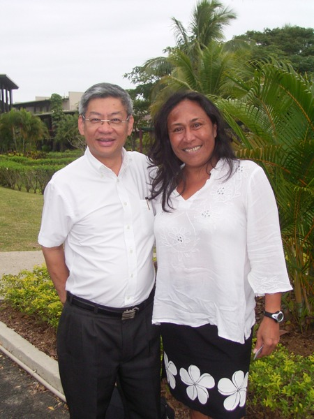 Nynette Sass (right) with the Fiji Islands Hotel and Tourism Association president, Mr. Dixon Seeto. SHA and FIHTA may soon be exploring collaborative opportunities.