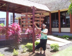 Nynette Sass in front of her Samoa Hotels Association office