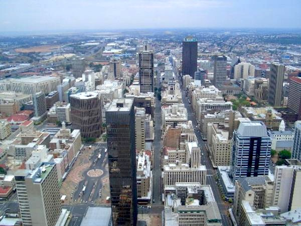 The busy city centre of Johannesburg