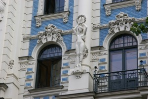 Detail from an Art Nouveau building in Riga, Latvia, which famous as a centre for this style of architecture