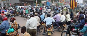 A look at downtown Kampala and its jam of boda-bodas (bicycle and moped taxis) (photo by Rob Brierley)