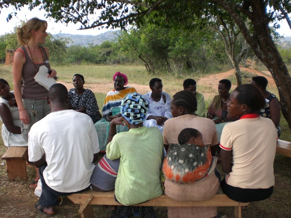 Kate teaching adult literacy classes in Uganda