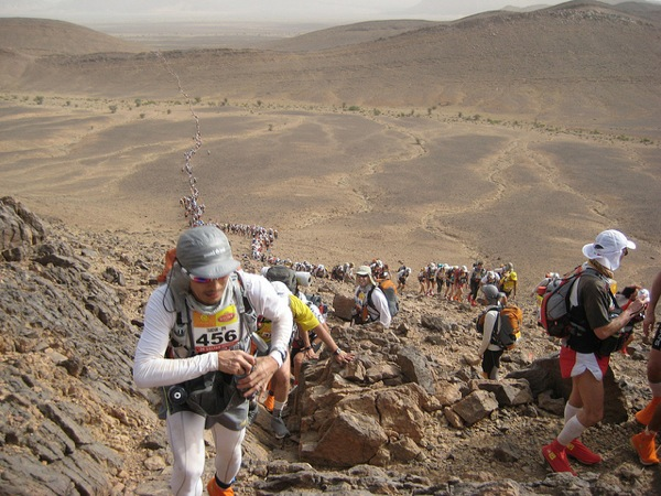 Runners on the gruelling Marathon des Sables in Morocco's Sahara Desert