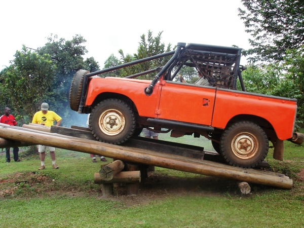 The balance beam is just one of many tests of skill facing competitors in Uganda's 4x4 Chimp Challenge