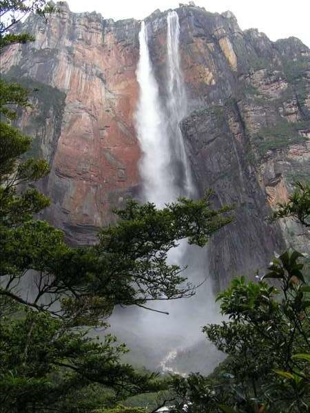 Angel Falls, located in Canaima National Park of Bolivar State, Venezuela, are the highest waterfalls in the world. Most of the water actually evaporates before it ever reaches the ground.