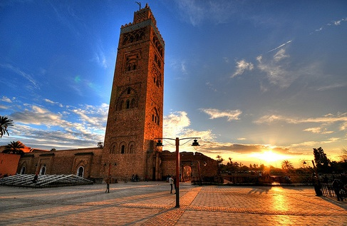 The Koutoubia Mosque is the largest in Marrakech. Its soaring minaret was completed in the 12th century. Photo by 5ERG10