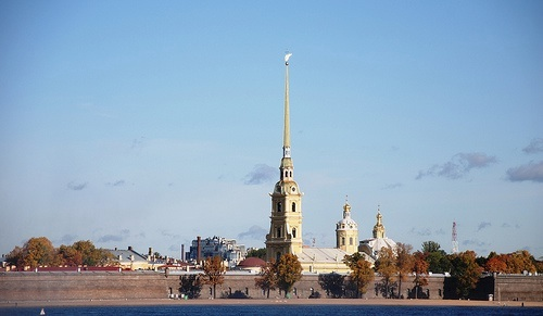 A view of the Peter and Paul Fortress and the spire of the Peter and Paul Cathedral, the tallest point in St. Petersburg. Photo courtesy of Flickr/Dominic Sayers