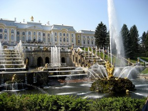 The grounds and gardens of the Peterhoff Palace, St. Petersburg, Russia