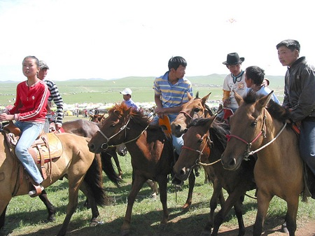The Mongolian Nadaam horse race is often run by kids