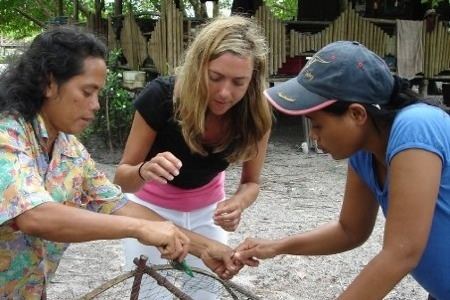 Making squid cages on an Andaman Discoveries tour in Phang Nga, Thailand