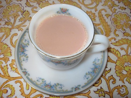 Kashmiri tea, a pink milky tea with pistachios and cardamom, is drunk primarily at weddings