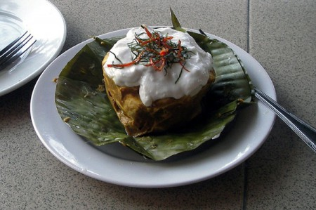 A popular local dish in Cambodia is amok, a curry of steamed or baked fish served in a banana leaf