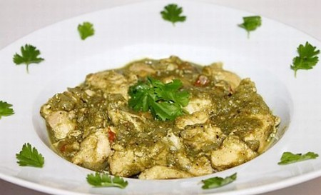 A favourite dishes in Goa is chicken cafreal, a spicy chicken made with onion, garlic, ginger, cinnamon, pepper, chilli, mace and fresh coriander leaves