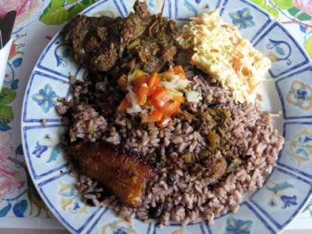 The staple food in Belize is rice 'n' beans