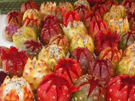 Pitahaya, also known as dragon fruit, is actually the fruit of the cardon cactus