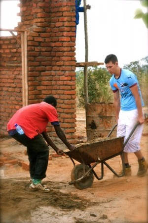 Volunteers build a community centre, Blantyre City, Malawi