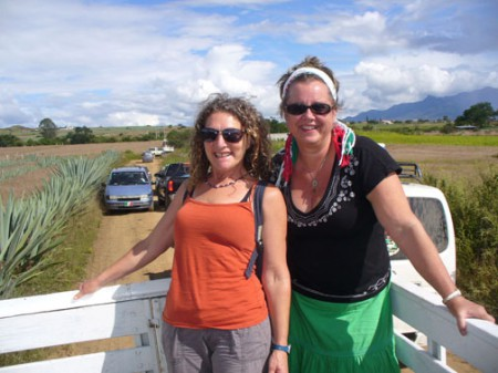 Susan Bean Aycock (the author) and Nancy Ableser in a cattle headed back to Oaxaca, Mexico