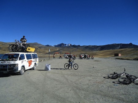 Buses for the Most Dangerous Road bike tour