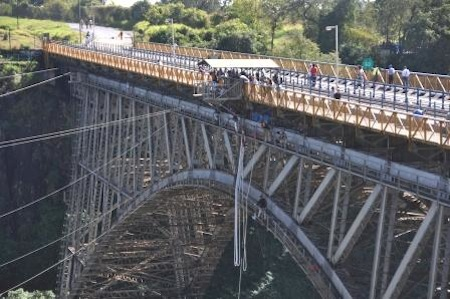 The historical bridge used for bungee in Victoria Falls
