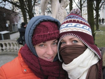 Bundled up against the cold of winter in Germany, Amber (left) and Morgan pause for a double self-portrait