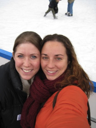 Amber (right) and Morgan enjoy the winter weather at an ice rinkin Munich on their trip to Germany