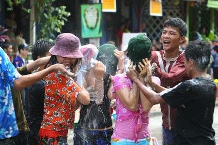 Water fights are part of Cambodia's Chol Chnam Thmey New Year celebration