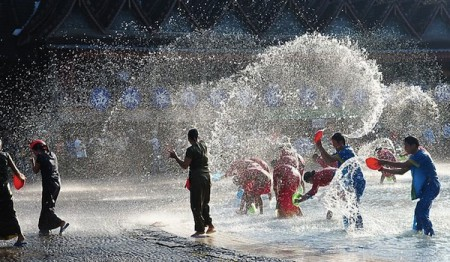 Chinese celebrate the New Year with a splash