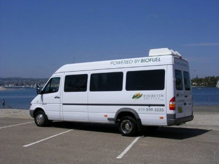 Converted to run on biofuel, this 12-seater Mercedes van is part of the Whatever Shuttle fleet in San Diego, California
