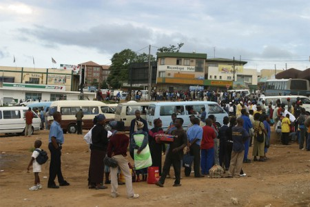 The bus rank of Manzini City, Swaziland