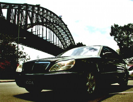 Corporate car with view of Sydney Harbour Bridge