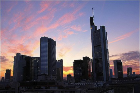 The distinctive modern skyline of Frankfurt, Germany