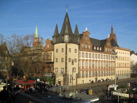 Older and more unique buildings are still visible in Frankfurt, Germany