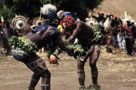 Indigenous Bassari wrestlers in Senegal
