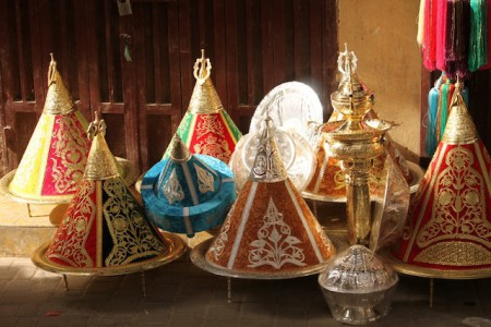 Silver plates found for sale in the souk's of Fes, Morocco
