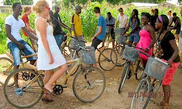Villages And Volunteers In Ghana Connect On Bamboo Bikes The