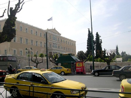 Taxi on Syntagma Square, Athens, Greece
