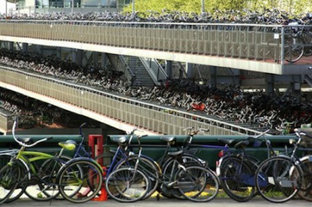 Bicycle parking in Amsterdam, Netherlands