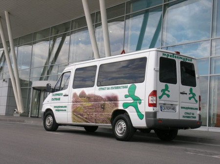 A Traventuria vehicle drops off passengers at the Sofia airport in Bulgaria.