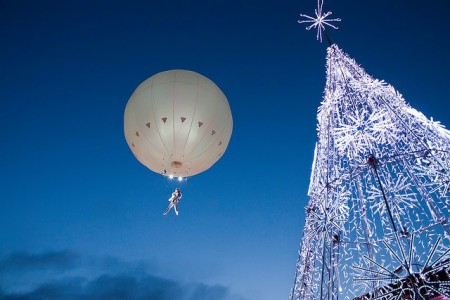 Aerial acrobatics above the Christmas Market in Vilnius, Lithuania
