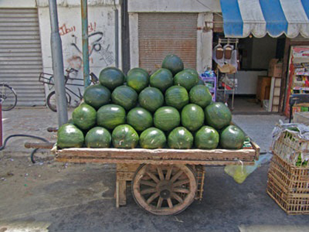 Watermelons for sale at a market in Port Said, Egypt