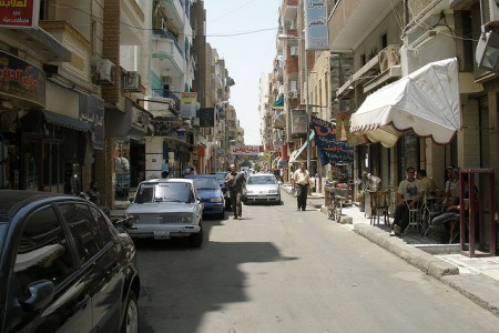 A street scene in Port Said, Egypt