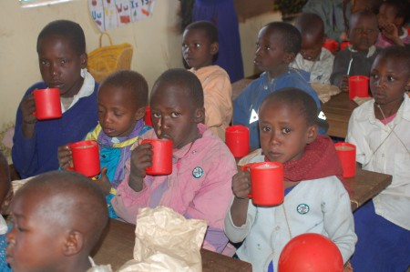 Porridge time at Ilkurot Nursery School, Tanzania
