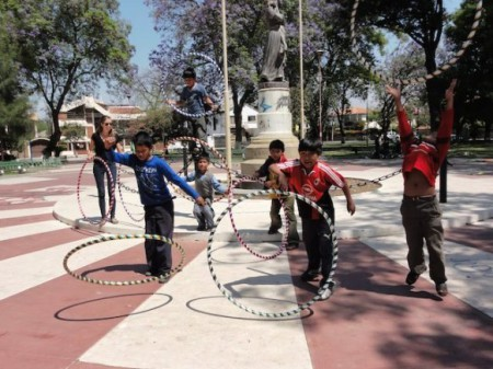 Sustainable Bolivia hula hooping 450x337 Voluntourism Innovation: The Mini Grant Program at Sustainable Bolivia